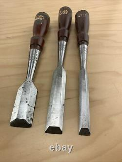 Stanley No. 750 Woodworking Socket Chisels With Decals Set of 3 Original Box