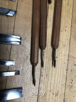 Swiss Wood carving tools, set of 14 with tool roll and 3 micro carving tools