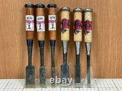 Unused Japanese Vintage Carpenter Tool Chisel Nomi Woodworking 6-piece set