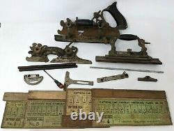 VTG Antique Stanley 55 Universal Combination Plane Cutters Woodworking Tool DB21