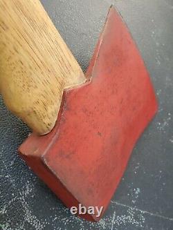 Vintage Axe Ax C34 Red Head 6.5x5.5 Long Handled Fireman Firefighter Woodwork