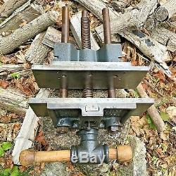 Vintage Charles Parker Quick Release 10 Under Bench Wood Working Vise # 445W