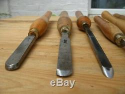 Vintage Large Woodturning Chisels woodwork carpentry crown cryo marples x 13