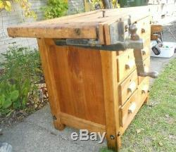 Vintage Oliver Woodworkers Cabinet Makers Workbench with E. H. Sheldon & Co
