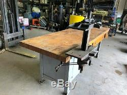 Vintage Oliver pattern maker Vise and Bench wood working bench
