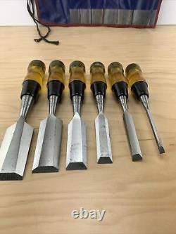 Vintage Set Of 6 Stanley No. 60 Woodworking Chisels With Tool Pouch