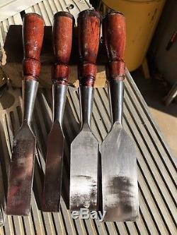 Vintage Set Of Antique Chisel Stanley 750 Marked Tools. VGC. VTG Woodworking