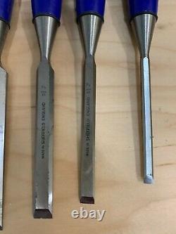 Vintage Set of Five Marples Blue Handle Woodworking Paring Chisel Pouch Set UK