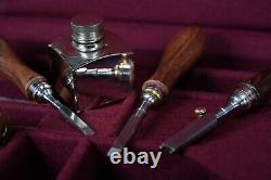 Vintage Silver Pewter Wood Working Set shotgun Wood Case WOW