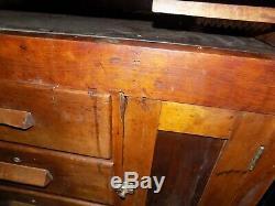 Vintage Work Bench Table with 2 Vise Desk- Vintage Woodworking