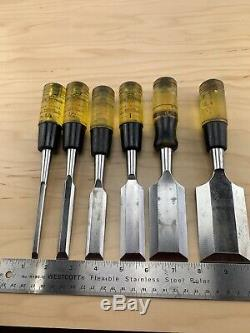 Vintage set of 6 Buck Bros Woodworking Bevel Edge Chisel 1/4'' to 2'' USA