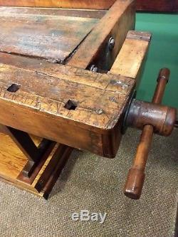 Vintage woodworkers table / bench
