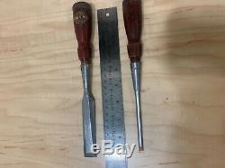 Vtg Stanley No. 750 Woodworking Bevel edge Socket Chisel 3/4'' & 1/4'' With USA
