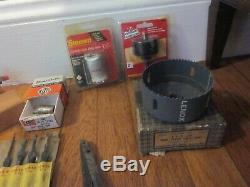 Vtg Woodworking Tool Lot Drill Bits Clamp Bevel Square Craftsman Table Saw Parts