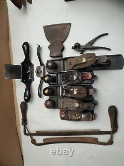 Woodworking hand tool lot mostly stanley hand planes, drawknifes, spokeshave